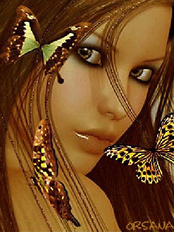 Анимация Девушка с красивыми глазами и губами на фоне бабочек (ORSANA)