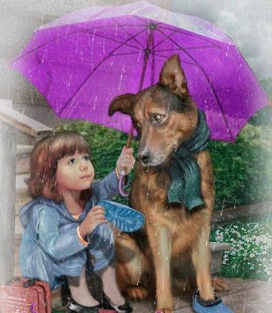 Анимация Девочка сидит под дождем и укрывает зонтиком собачку с шарфом на шее