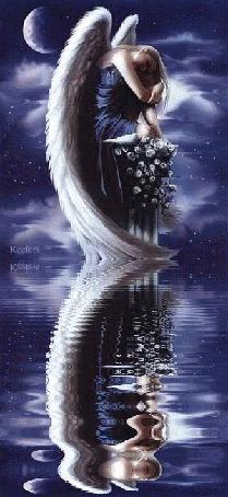 Анимация Девушка - ангел отражается в воде на фоне ночного неба и луны (Keefers)