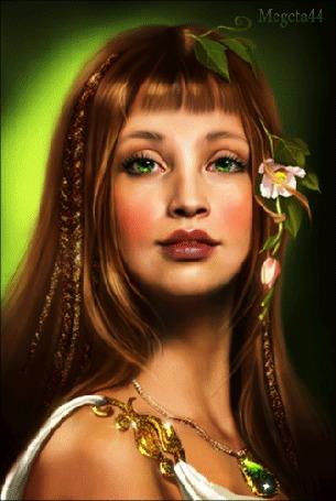 Анимация Красивая девушка с зелеными глазами и красивыми губами с цветами в волосах, украшением на шее, исходник от Татьяны Дорониной, (Megeta44)