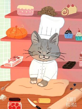 Анимация Кот в одежде повара месит тесто, by Debbie Balboa