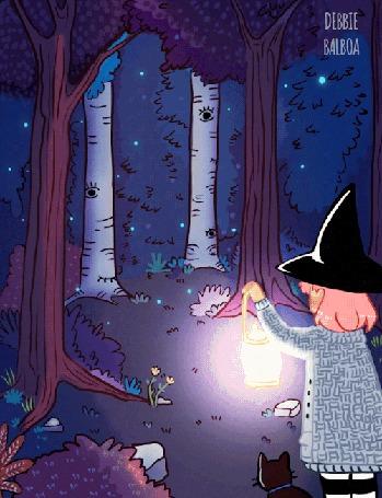 Анимация Колдунья с котом смотрят на моргающие деревья, by Debbie Balboa