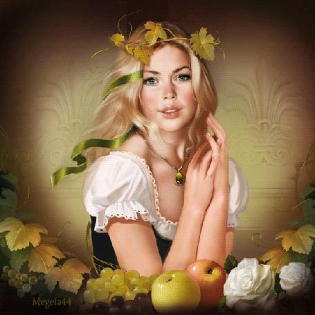 Анимация Светловолосая красивая девушка с кулоном на шее на фоне винограда, яблок и белых роз, исходник-художница Татьяна Доронина, by Megeta44