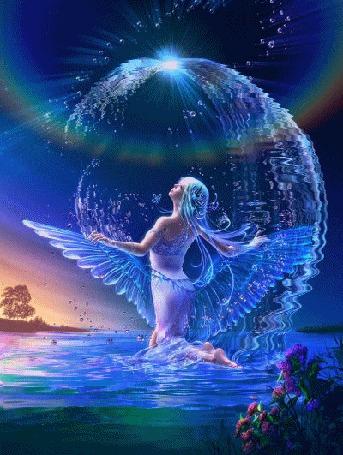 Анимация Девушка - ангел стоит на коленях в воде на фоне неба, деревьев и цветов
