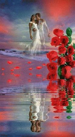 Анимация Влюбленная парочка на фоне неба и алых роз отражаются в воде