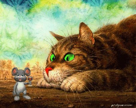 Анимация Зеленоглазый кот изумленно смотрит на смелого мышонка, поднимающего бокал вина за его здоровье, в небе сияют фейерверки