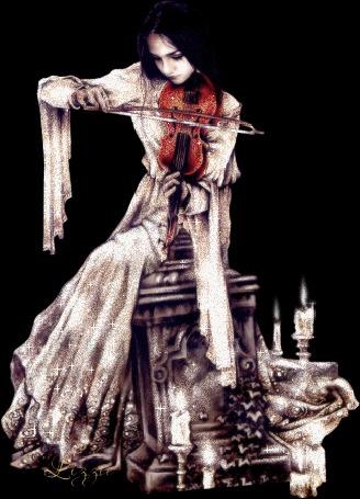 Анимация Девушка играет на скрипке при свечах by Jizzie, исходник by Victoria Frances