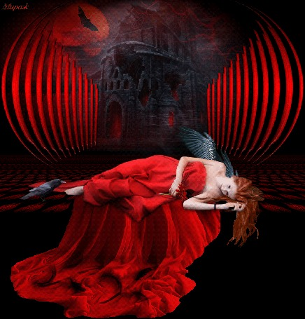 Анимация Девушка-ангел спит на фоне разрушенного собора и полной луны, by Мираж