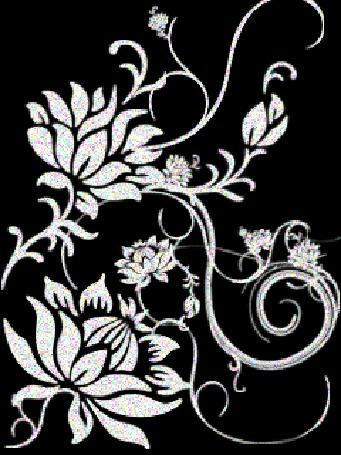 Анимация Белый цветочный узор на черном фоне