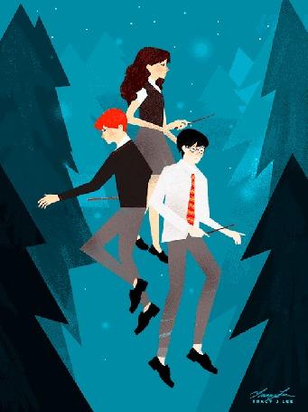 Анимация Олень пробегает среди Harry Potter / Гарри Поттера и его друзей, by tracyjleeart
