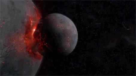 Анимация Планета в огненном космическом пространстве