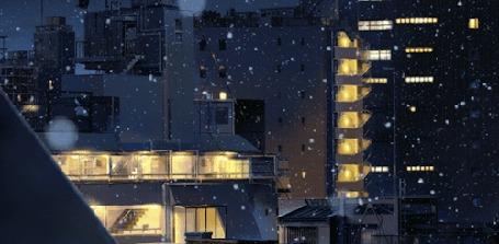 Анимация Тихо падающий снег в ночном городе, кадр из драмы Your Name / твое имя