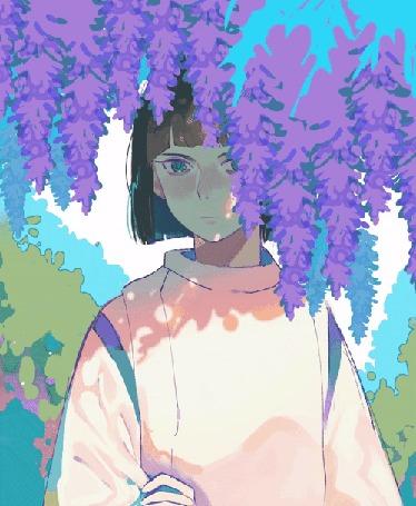 Анимация Девушка за цветущей глицинией, Hiroko Hatsumi