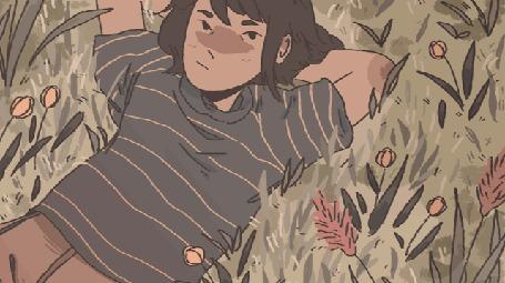 Анимация Парень лежит на поляне