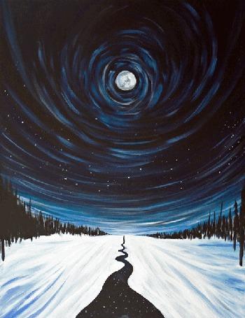 Анимация Река под ночным зимним небом с полной луной