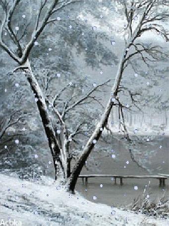 Анимация Дерево возле пруда под падающем снегом