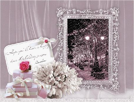 Анимация Зеркало, где отражается ночной город под снегопадом. На столе подарки, цветы и открытка