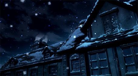 Анимация Медленно идущий снег в ночном городе