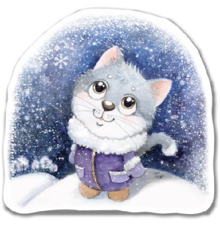 Анимация Котенок в теплой одежде смотрит на падающий снег