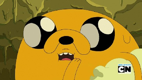 Анимация Пес Джейк из мультфильма Adventure Time / Время Приключений быстро поедает попкорн