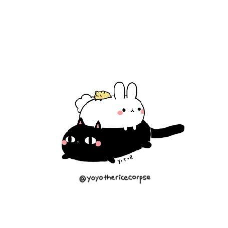 Анимация На черном коте лежит кролик и мышка на кролике, by yoyothericecorpse