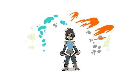 Анимация Korra / Корра демонстрирует четыри элемента: воду, огонь, землю и воздух из анимационного мультсериала The Legend of Korra / Легенда о Корре