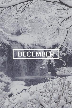Анимация Заснеженная зима покрывающая снегом деревья (December / декабрь)