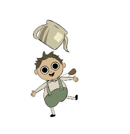 Анимация Мальчуган прыгает с чайником на голове