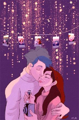 Анимация Парень целует девушку на фоне развешенных фотографий, by artpills