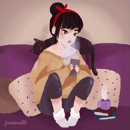Анимация Девушка сидит с телефоном в руках, а у нее на шее примостился кот, by Framboisette