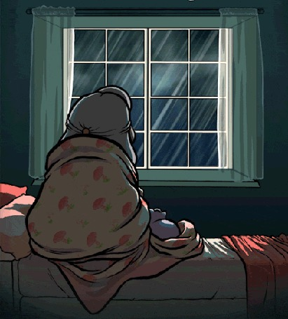 Анимация Девочка с котенком сидят перед окном, за которым идет дождь и сверкают молнии