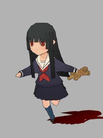 Анимация Маленькая Ай Энма / Ai Enma бежит, держа в руке куклу вуду из аниме Адская девочка / Jigoku Shoujo