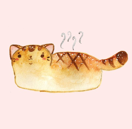 Анимация Кошка-свежий хлебушек мяукает, by jessthechen