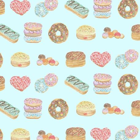 Анимация Песик в пончике катится на голубом фоне с вкусняшками, by jessthechen