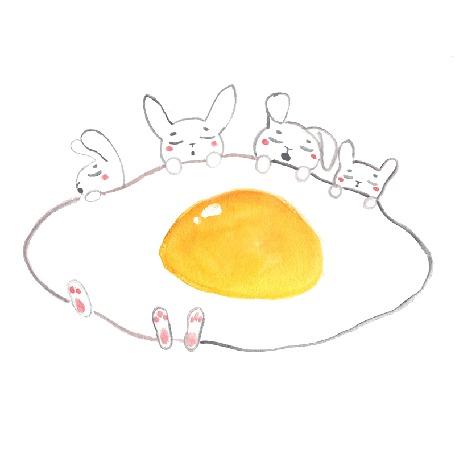 Анимация Белые кролики спят, укрывшись глазуньей, by jessthechen