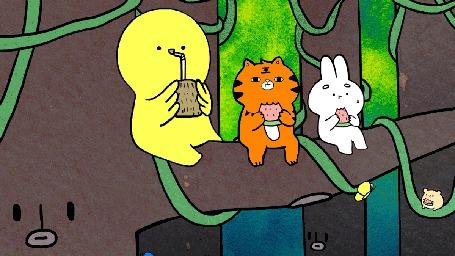 Анимация Желтый чудик пьет сок рядом с кроликом, кошкой и хомяком жующие арбуз сидя на дереве, среди летающих бабочек, by yoyothericecorpse