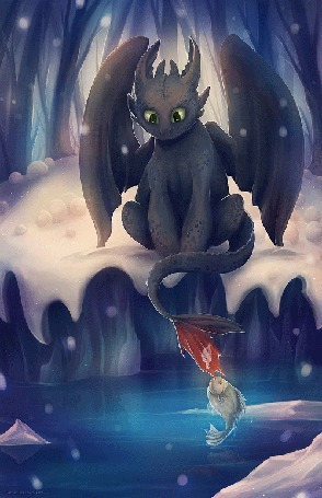 Анимация Дракон Беззубик наблюдает за рыбой, которая ухватила его хвостик, мультфильм Как приручить дракона / How to Train Your Dragon
