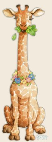 Анимация Жираф жует траву