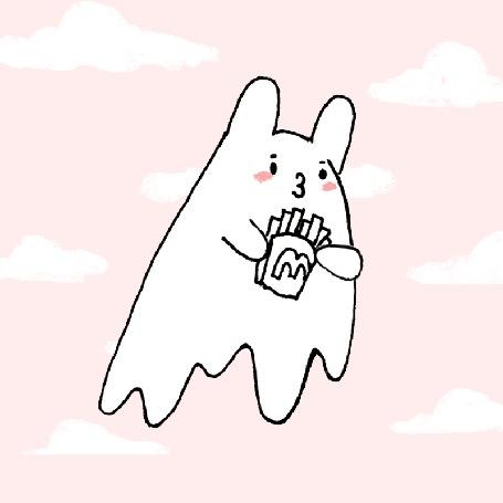 Анимация Призрак белого кролика летит по небу и ест картошку фри, by jessthechen