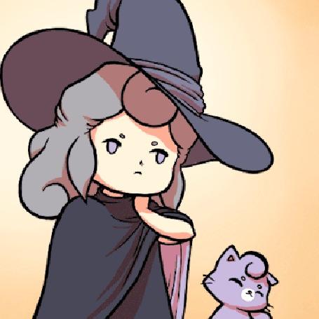 Анимация Девочка в шляпе и котенок машут головой