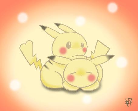 Анимация Два Пикачу / Pikachu из аниме Покемон / Pokemon, by Zaziki7