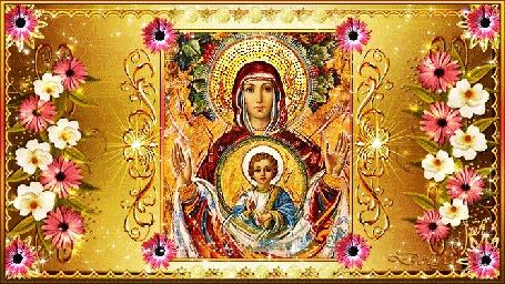 Анимация Икона Божией Матери Знамение украшенная цветами