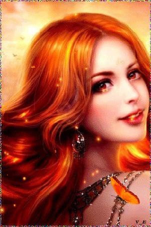 Анимация Рыжеволосая красавица с улыбкой на губах на фоне бабочки, by vita_ella