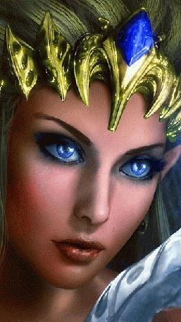 Анимация Красивая голубоглазая девушка с украшением на голове