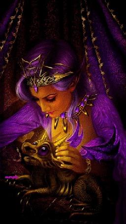 Анимация Сказочная красавица с сиреневыми волосами с короной на голове с дракончиком, by Maryla