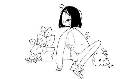 Анимация Девочка, моргающая одним глазом