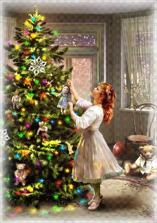 Анимация Девочка наряжает елку