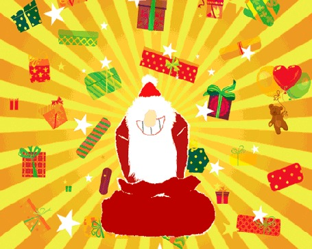 Анимация Дед Мороз раскидывает подарки