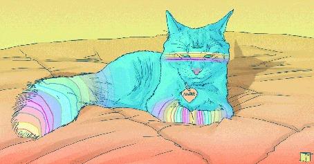Анимация Трехглазая кошка лежит на кровати, by Phazed