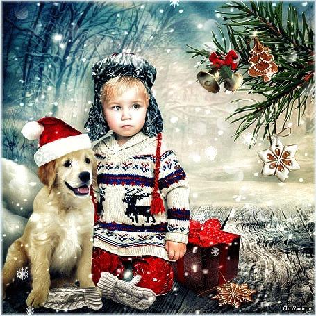 Анимация Мальчик с собакой в новогоднем колпаке смотрят на елку, на которой висят игрушки с качающимися колокольчиками